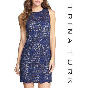 Trina Turk Blue Illusion Lacce Tropical Dress Sz 4